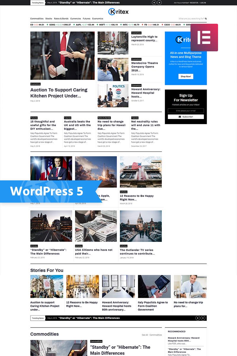 Kritex Corporate News Blog Modern Elementor Wordpress Theme 76860 News Website Design Blog Themes Wordpress Magazine Theme Wordpress