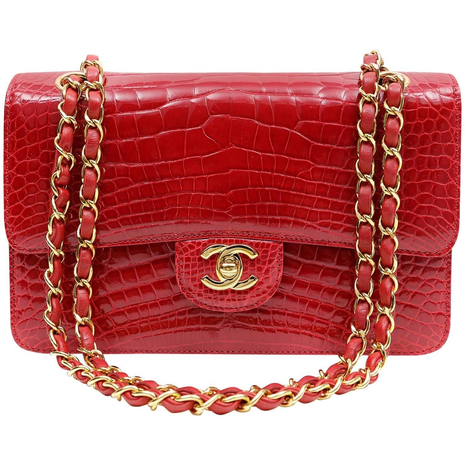 6927cb1614c7 Chanel Red Crocodile Classic Single Flap with Gold Hardware ...