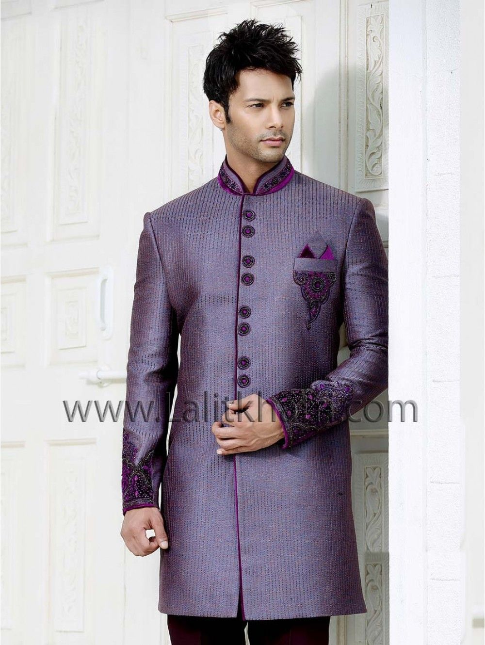 glowing light purple color stitch work indo western is planed on