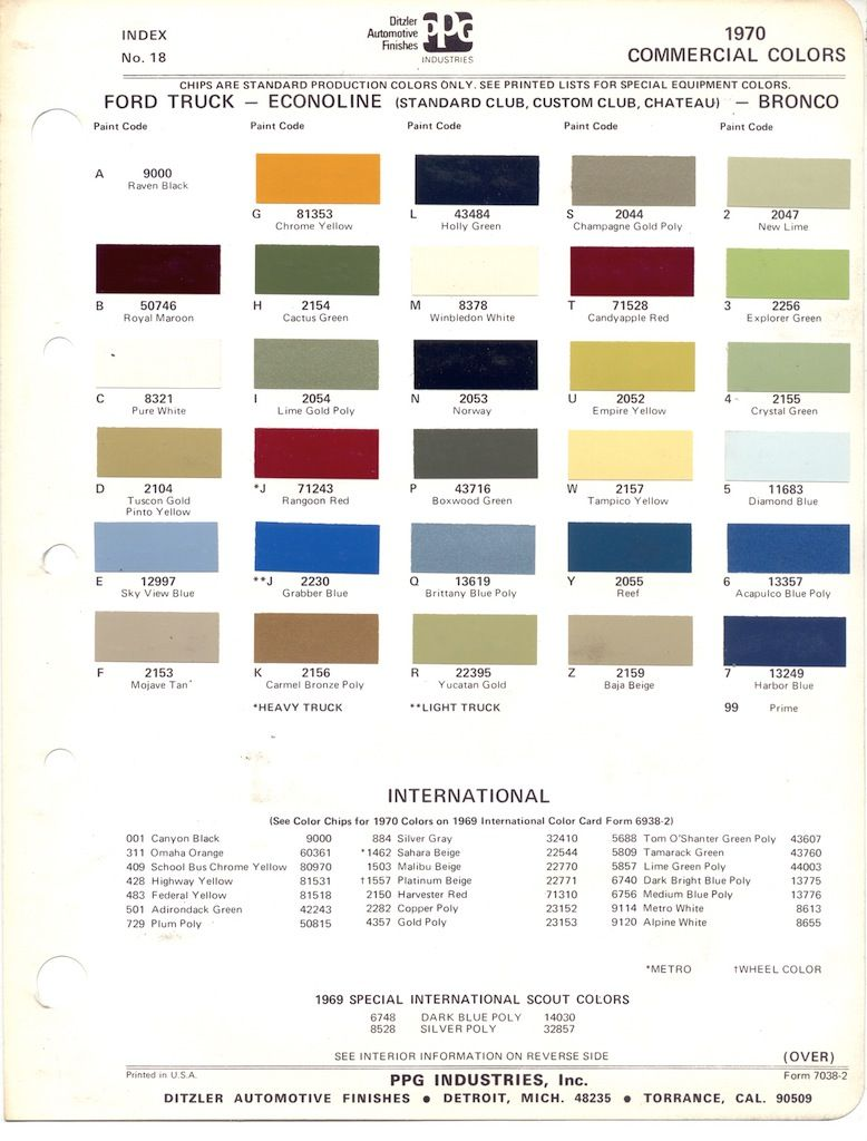 Paint Chips 1970 Ford Truck Ford Bronco Paint Charts Classic Ford Broncos
