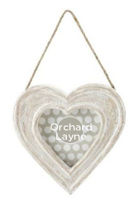 Shabby chic style, white washed photo frame, in the style of a hanging heart. From www.orchardlayne.co.uk