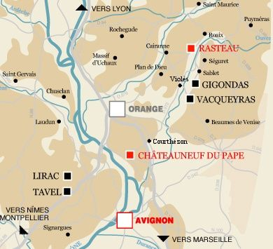 Map to cellar in ChateauneufduPape and Winegrowers Museum in