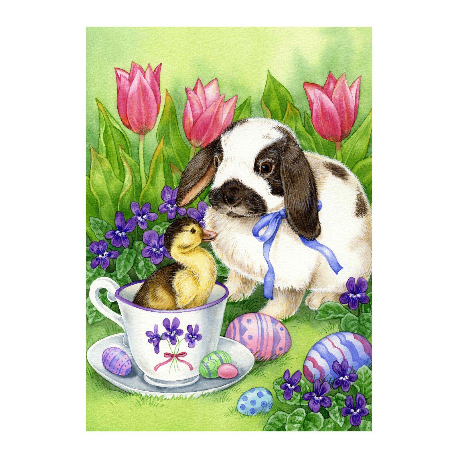 Toland Home Garden Easter Friends Garden Flag Wayfair Easter Art Easter Illustration Painting