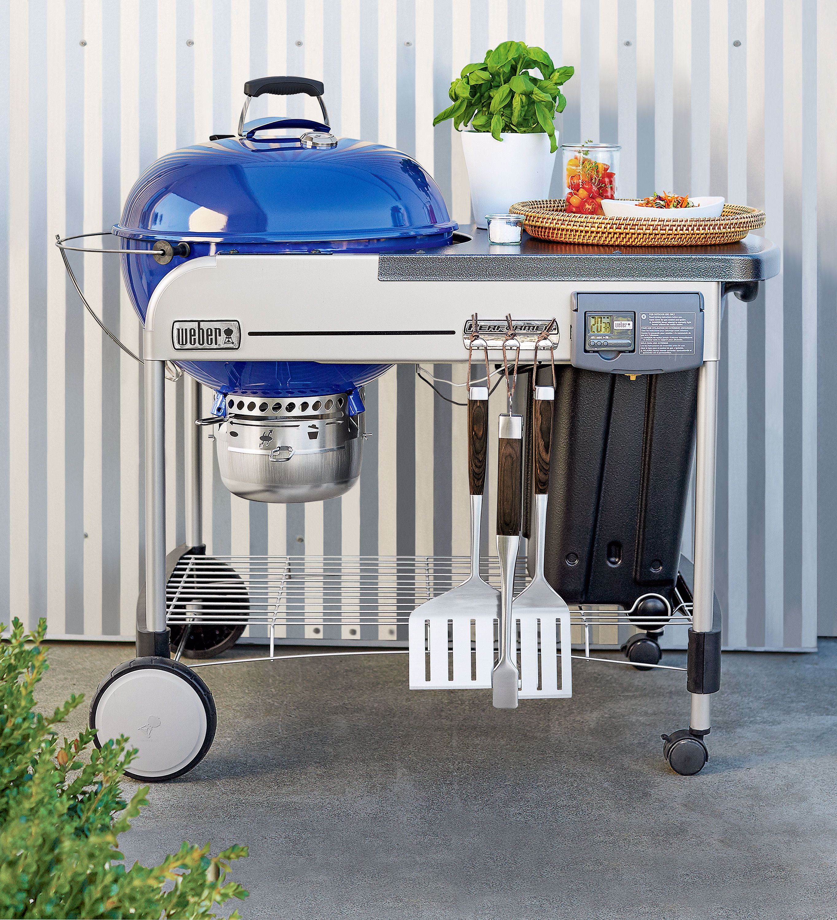 For Cooking Over Charcoal It Doesn T Get Much Simpler The Weber Blue Performer Deluxe Tricks Out The Classic Kett In 2020 Grill Accessories Charcoal Grill Grilling