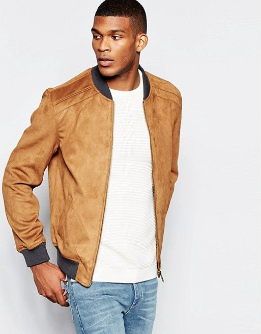 6d801b98966d15 River Island Faux Suede Bomber Jacket In Tan | Kleding | Jackets, Bomber  jacket men, Bomber jacket