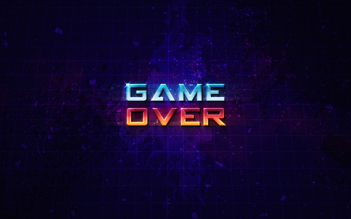 Download Wallpapers 4k Game Over Art Grid Violet Background Besthqwallpapers Com Fondo De Pantalla De Ipad Fondos De Pantalla De Juegos Descargar Fondo De Pantalla