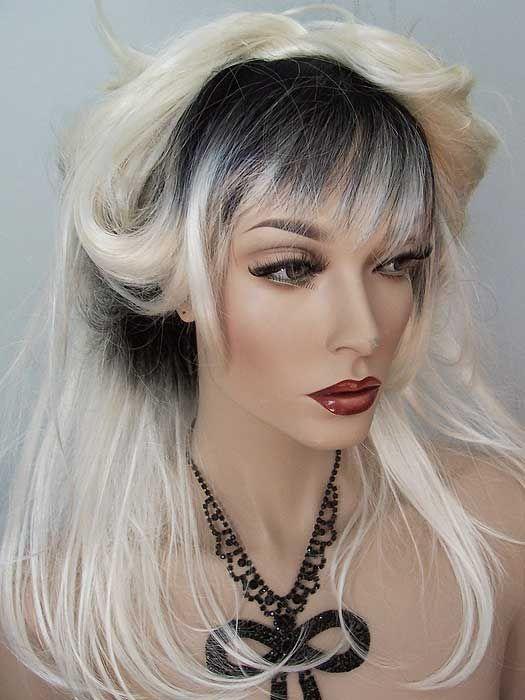 Sherry Drag Wig, color #YS75, Platinum Blonde Rooted Black