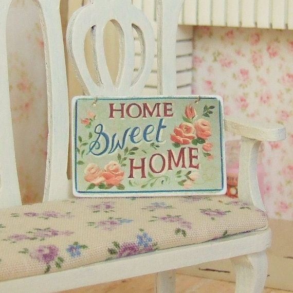 Dollhouse Miniature, Home Sweet Home Sign, Green Picture, Home Decor, Wall  Plaque