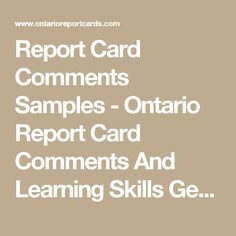 Report Card Comments Samples  Ontario Report Card Comments And