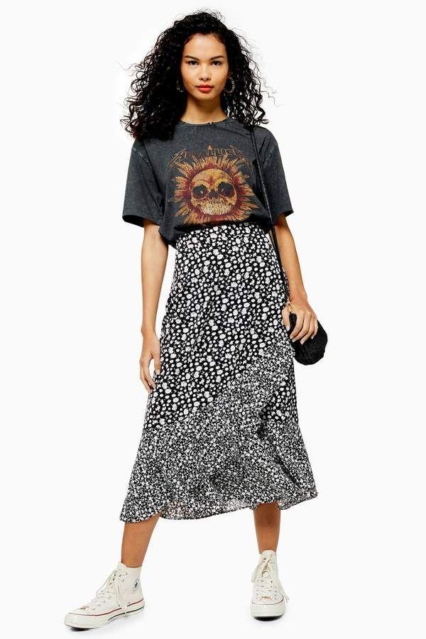 VIENNA Black and White Floral Print Wrap Midi Skirt