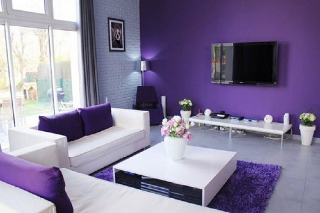Outstanding Purple And White Wall Color Theme Living Room Design Presenting Upholstery Fabric Loveseat Sofa