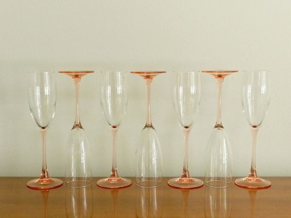 French champagne glasses flutes blush pink peach pastel wedding