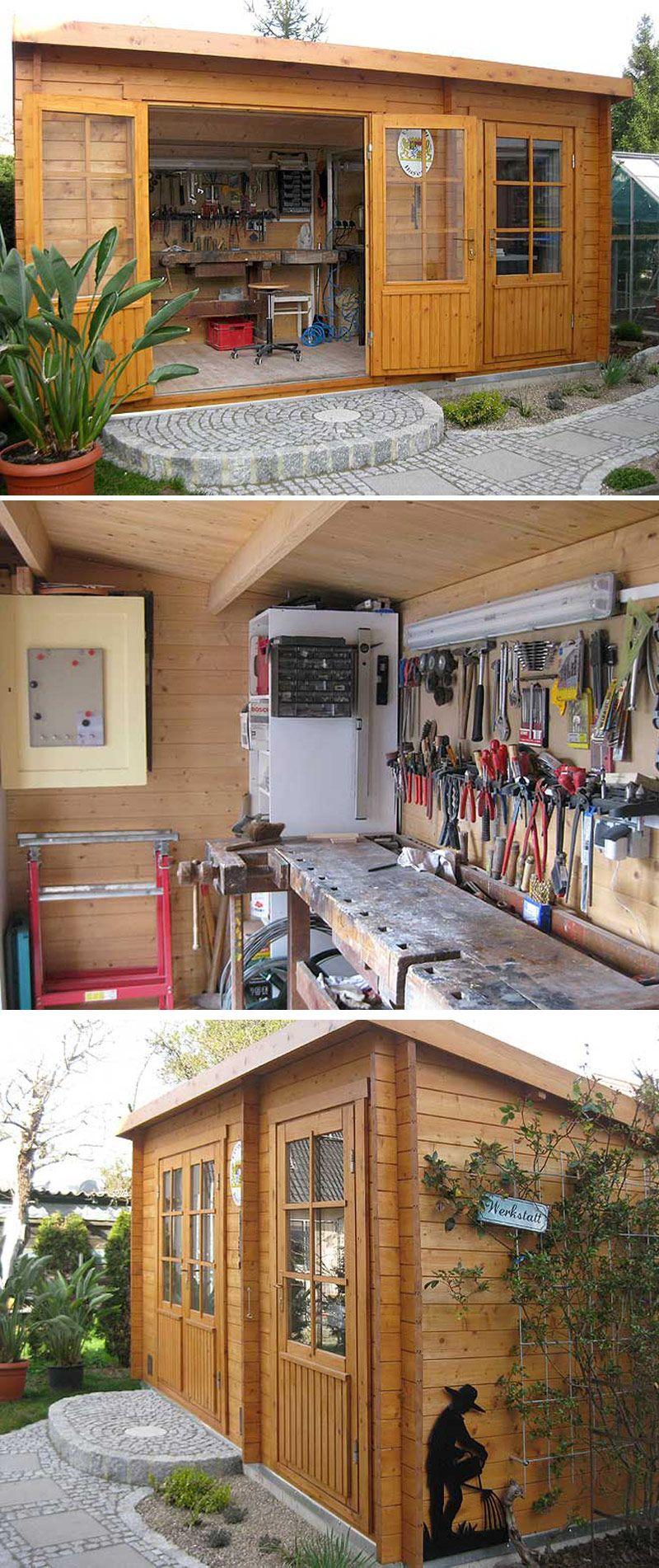 Das Gartenhaus Als Werkstatt Gartenhaus Gartenhaus Pultdach Haus