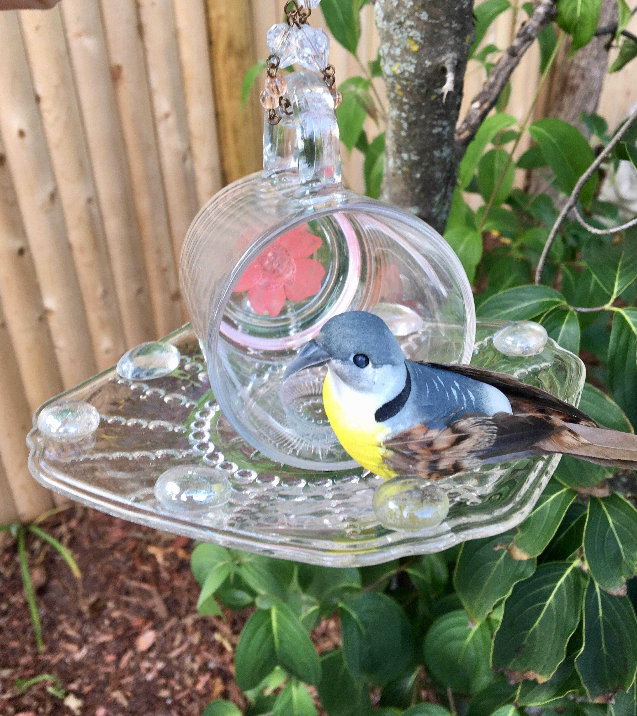 Glass Mug Bird Feeder Tea Cup Bird Feeder Outdoor Garden Art Hanging Kitchen Decor Upcycled Vintage Tea Party Decor Potpourri Holder Tea Cup Bird Feeder Upcycle Glass Bird Feeders