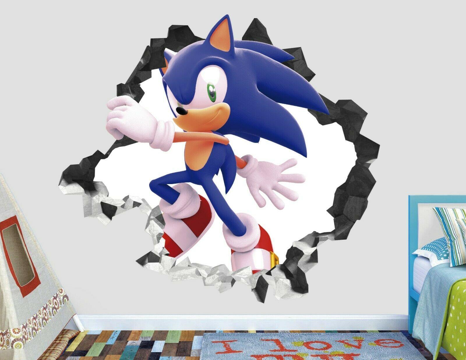 Sonic Adventure Wall Decal Decor Kids Smashed 3D Sticker Art Vinyl AH121