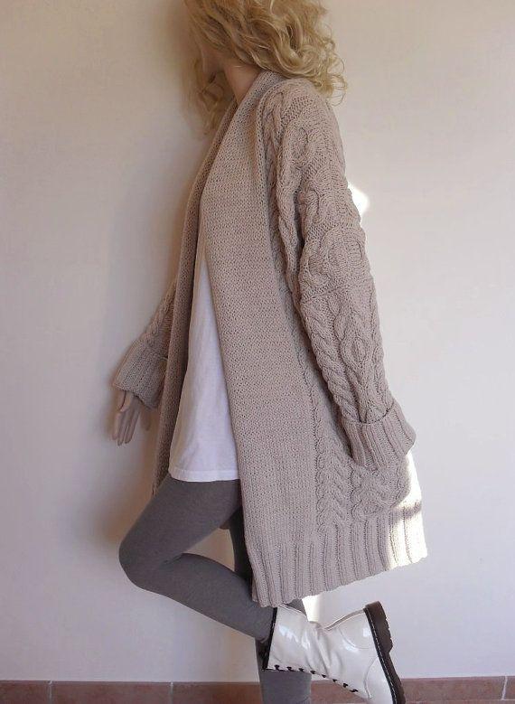 Suéter de las mujeres Cable de punto punto Cardigan de por Pilland ...