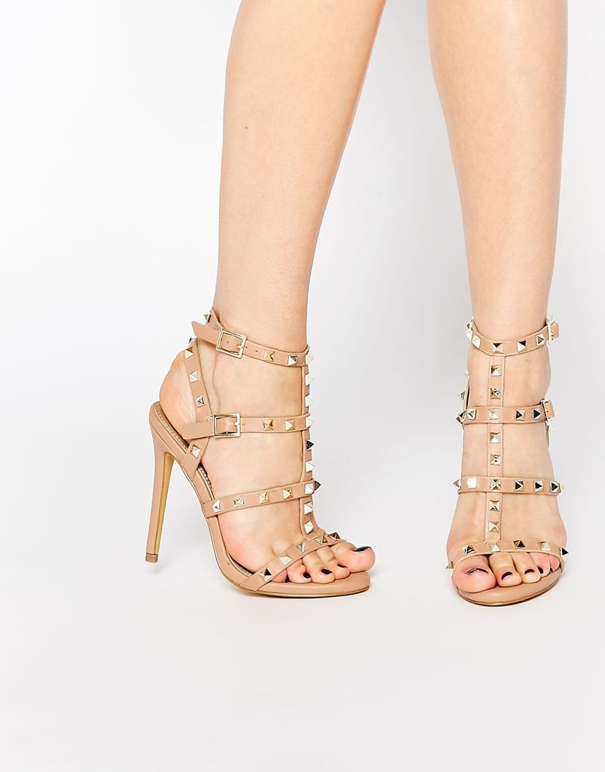 cb542c1b248 Image 1 of Missguided Studded Heeled Gladiator Sandal