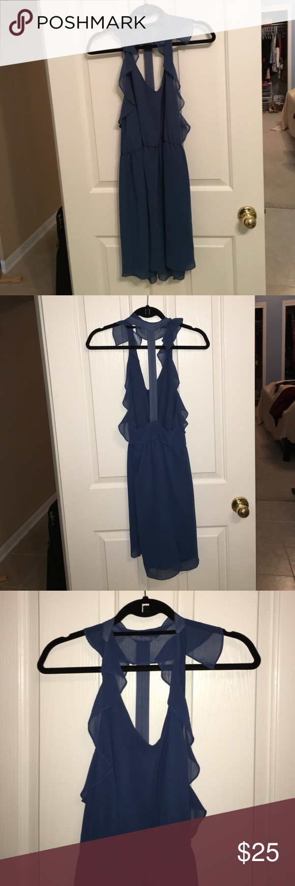 Classy, t-back ruffle dress Size medium blue ruffle dress by Wink in NYC, super classy and cute in great condition! *UO for exposure Urban Outfitters Dresses