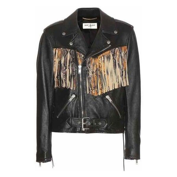 Saint Laurent Fringed Leather Jacket (26.000 RON) ❤ liked on Polyvore featuring outerwear, jackets, 100 leather jacket, beige leather jacket, fringe leather jacket, yves saint laurent and leather jacket