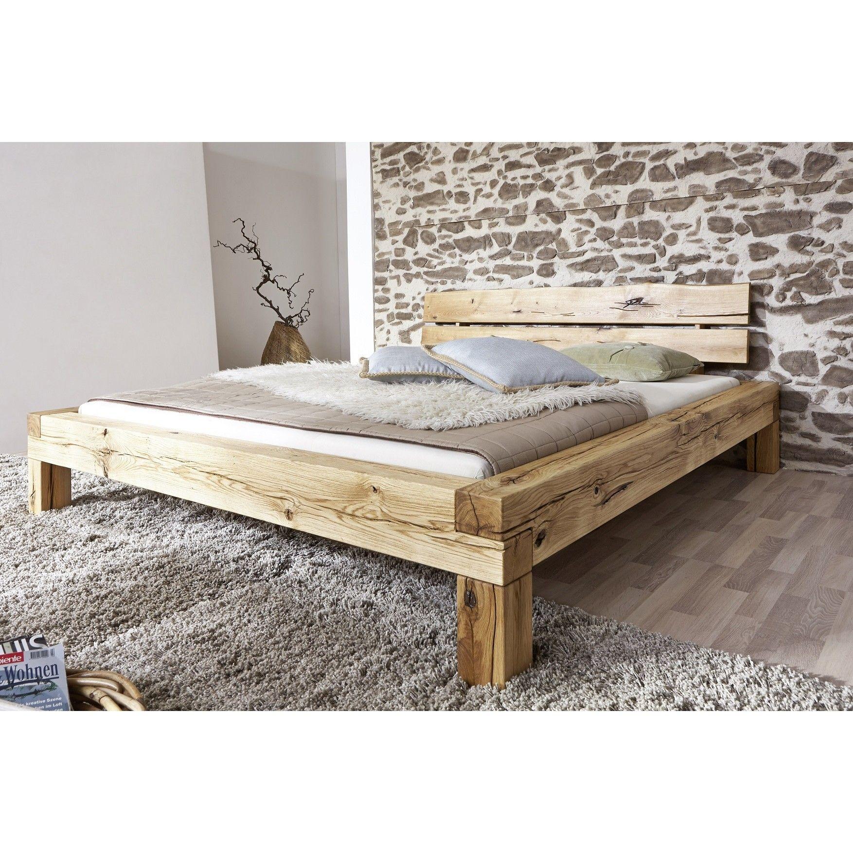Doppelbett 180x200cm Wildeiche Geolt Manuel Bett Bauen Holzbalken Bett Wohnen