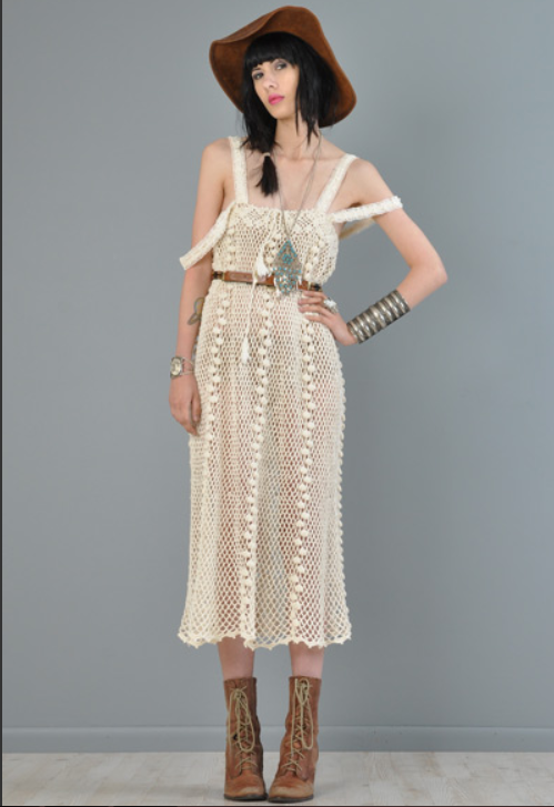 aef66103a02 Vtg 70s sheer crochet cutout tent festival hippie boho gypsy wedding maxi  dress