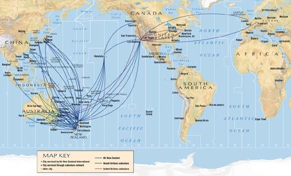 New Zealand Route Map.Air New Zealand International Route Map Airline Route Maps Air