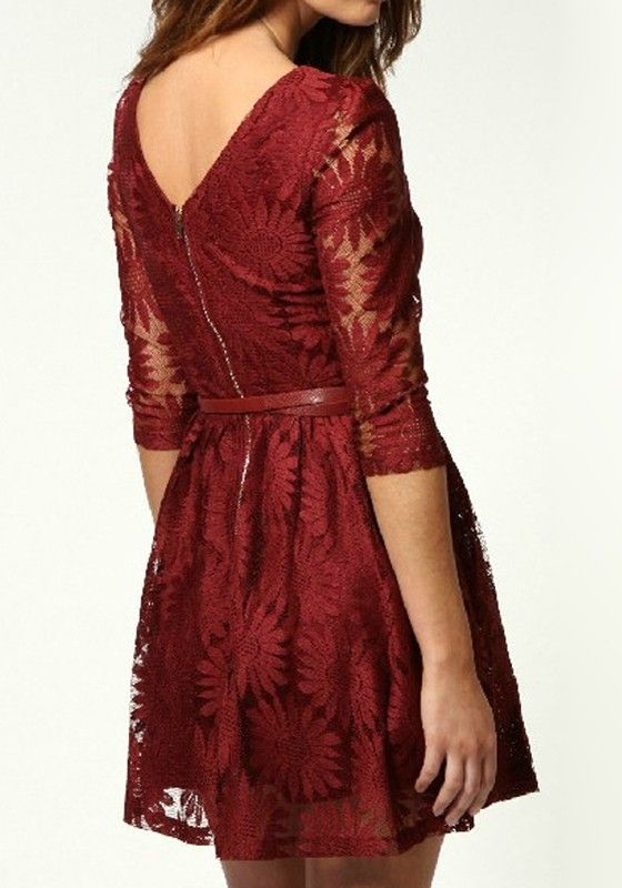 Wine Red Sunflower Zipper Above Knee Lace Dress - Dresses
