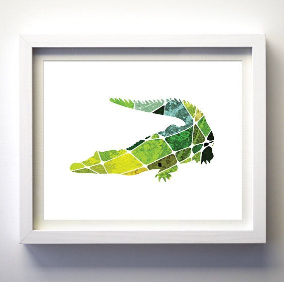 Malachite Green Turquoise Geometric Aligator Art Print * Print Does not come with any frame or mat. All prints have an extra white