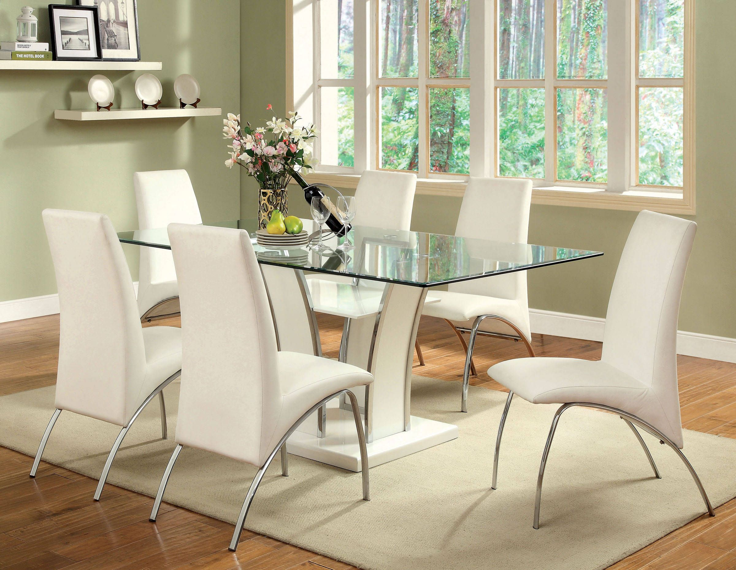 Furniture of America Glenview White Glass Top Dining Table