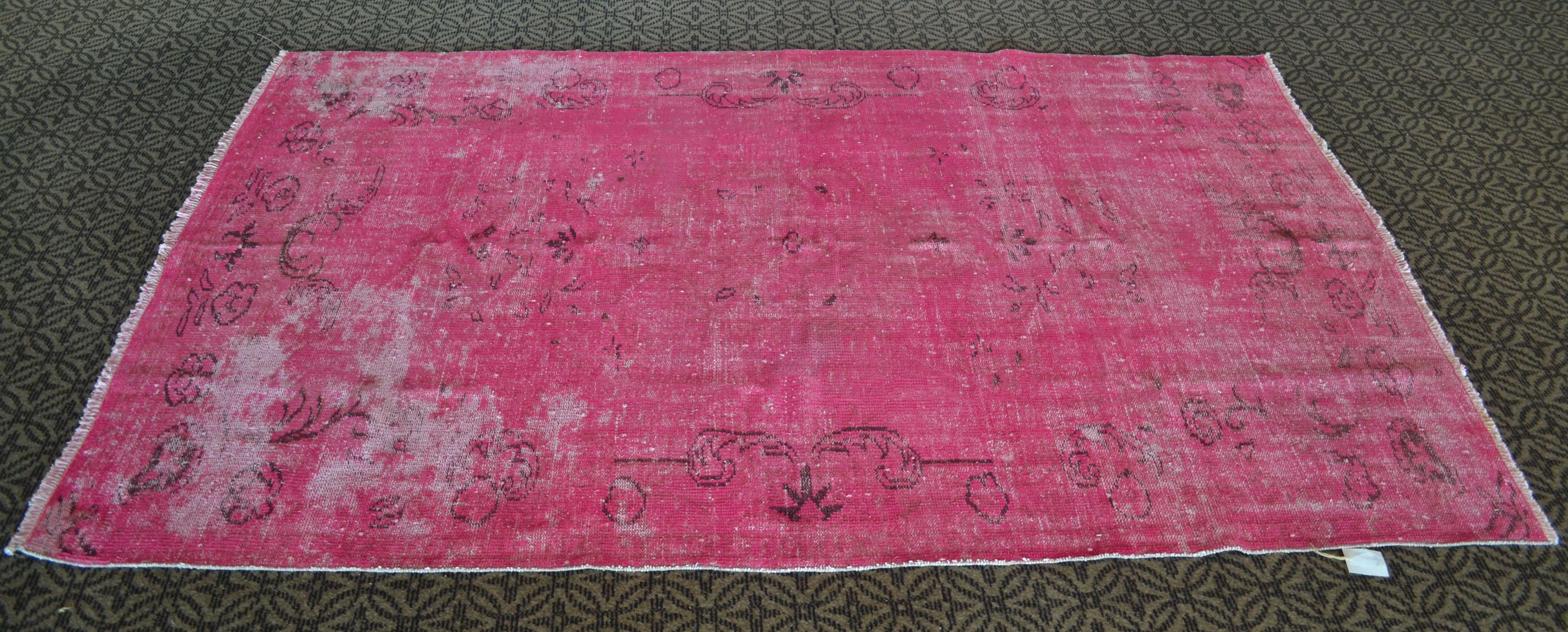 Pink Vintage Turkish Rug Handmade Overdyed Carpet Pink Oushak