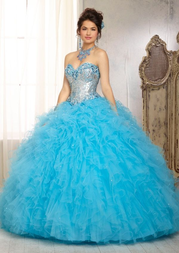 Quinceanera Dress From Vizcaya By Mori Lee Style 88081 in Freeze Elaborately Beaded Bodice with Ruffled Tulle Ball Gown Skirt  #quinceanera #quince #sweetsixteen #quinceaneradress #morilee #vizcaya #dress #ballgown #quincedress #sweetsixteendress #xv #misquince #quinceaneradressny #quincevestidony #newyork #nyc #queens #astoria #westhempstead