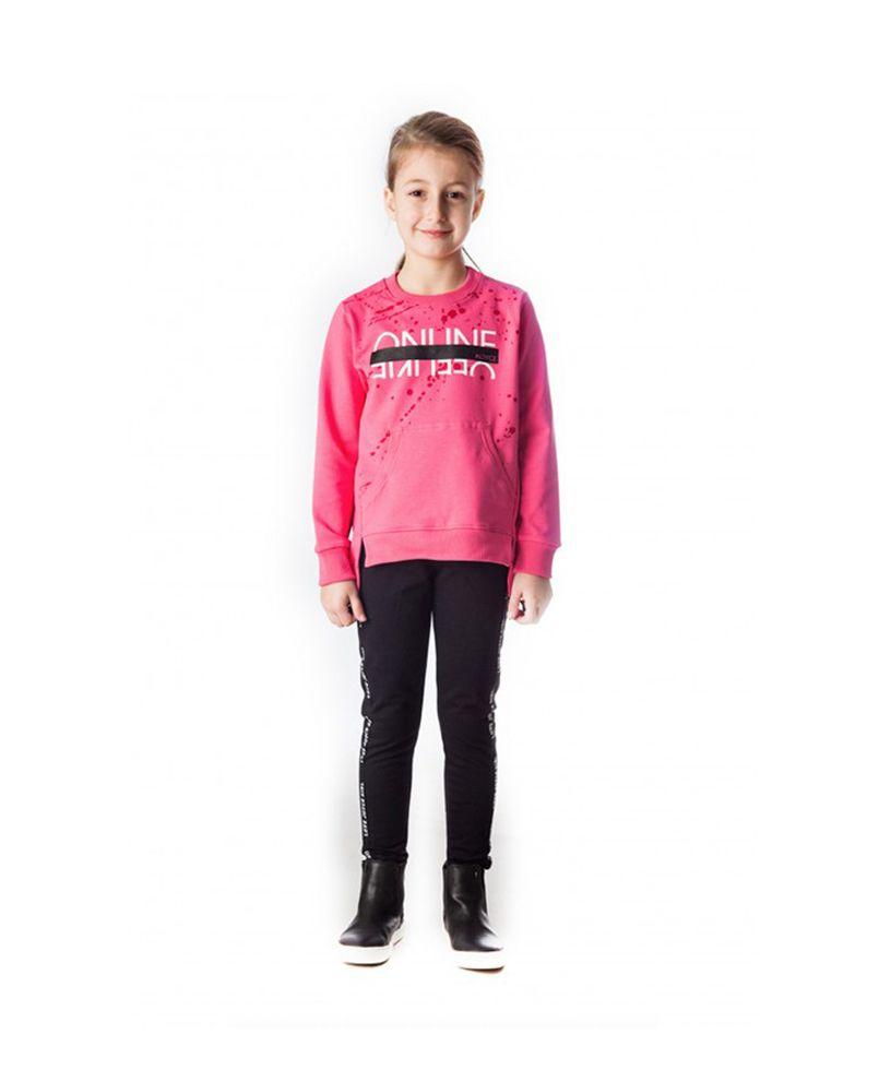 8258d7d66bc8 Σετ Μπλούζα Φούτερ Ροζ   Κολάν Μαύρο Online 88415  set  poulain   παιδικά ρούχα  κορίτσι  σετ  κολάν  μπλούζα