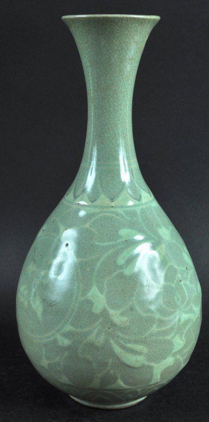 A Late 19th Century Korean Celadon Pottery Vase Painted On Koryo