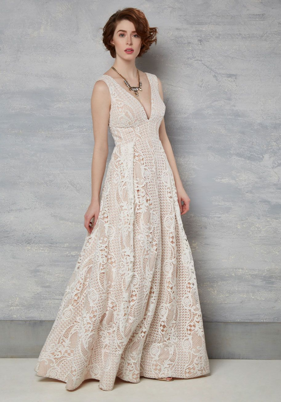 Right Here Right Wow Maxi Dress In Ivory Tan Cream