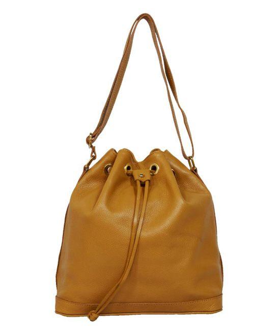 Tan Calista Leather Bucket Bag  979e0f909e