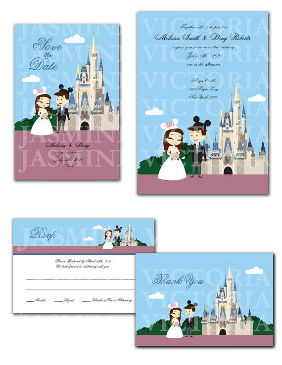 Disney World Magic Kingdom Customize Cartoon Bride and Groom Castle