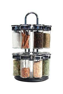 Carrousel A Epices 16 Pots Br Noir Kitchen Spices Spice Jars Kitchen Spice Racks