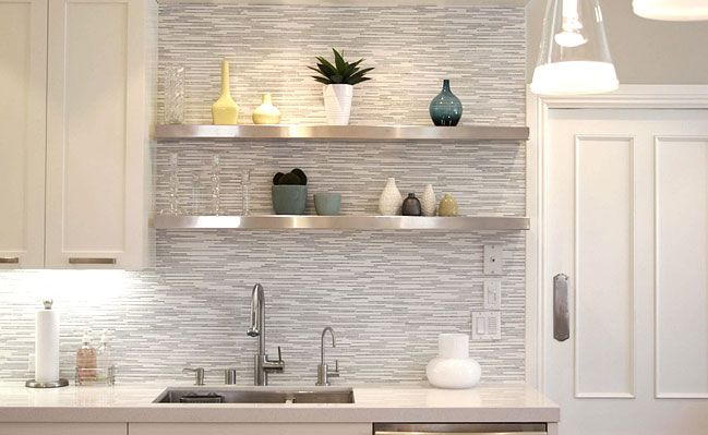 White And Gray Mosaic Mix With Quartz Kitchen Countertop. (gray White  Marble Backsplash Tile