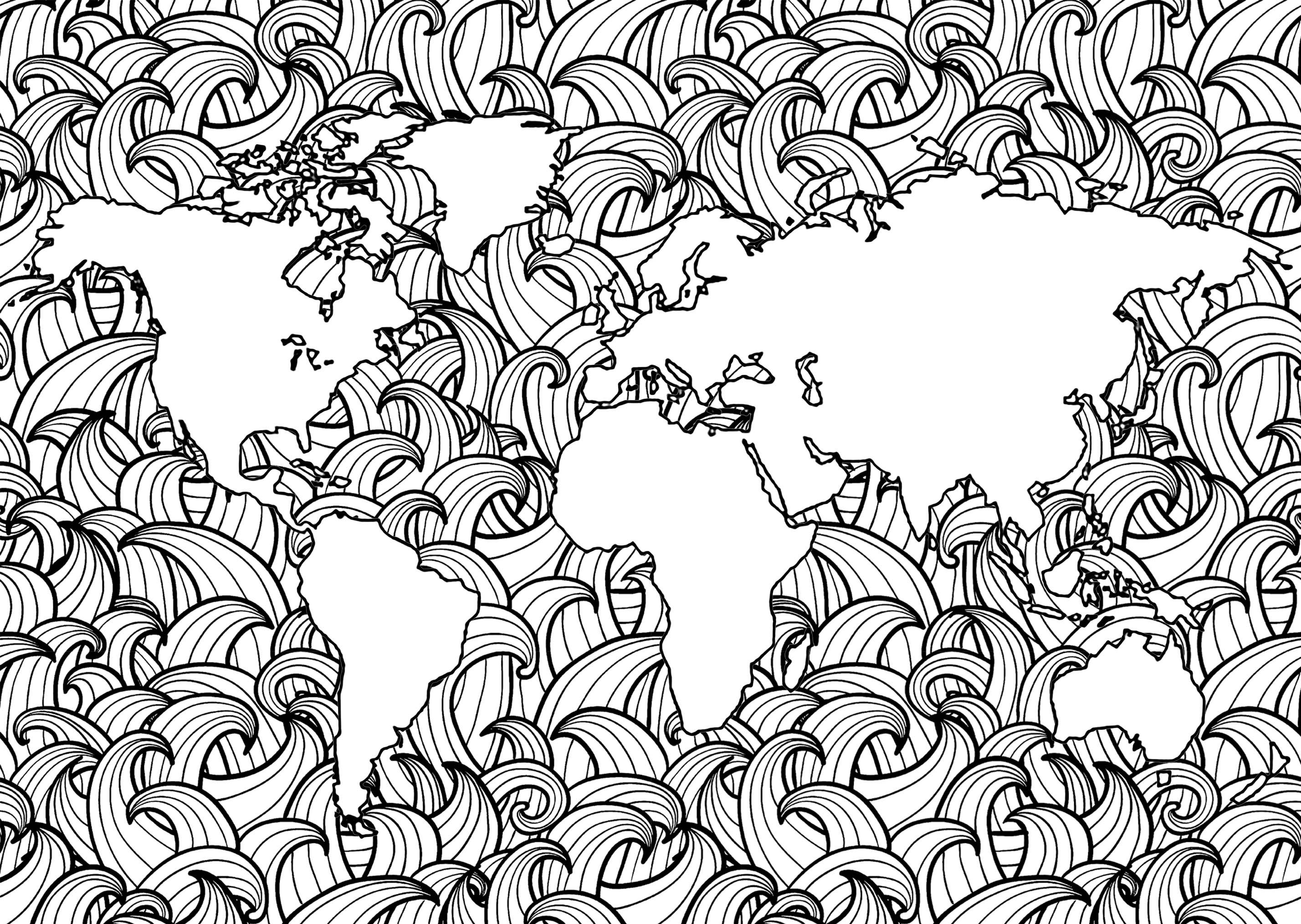 Planet Earth With Complex Waves Patterns In The Seas Coloring Pages Antistress Coloring Colouring Pages