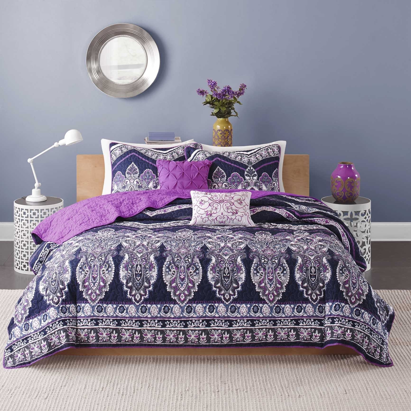 Intelligent Design Kinley 5 Piece Coverlet Set (Twintwin Xl Purple), Purple
