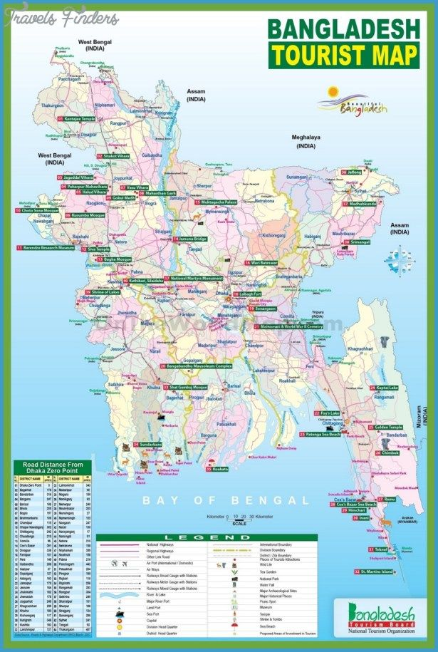 Bangladesh Map Tourist Attractions - http://travelsfinders.com ...