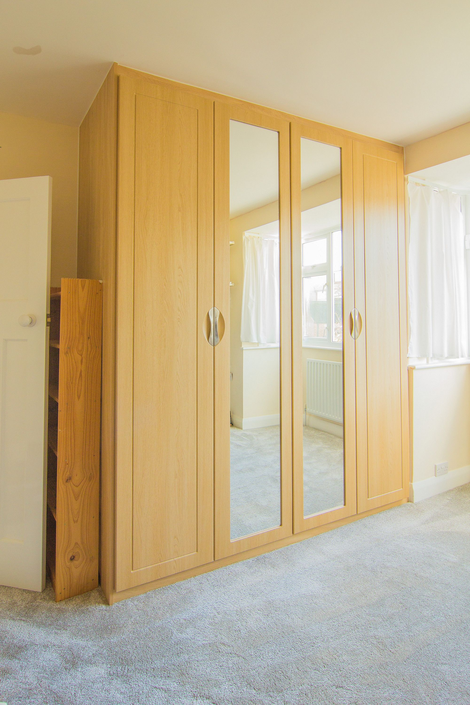 Bedroom Wardrobe Doors Designs Stunning Bespoke Oak Fitted Hinged Door Wardrobe With Mirror Doorsbelow Inspiration