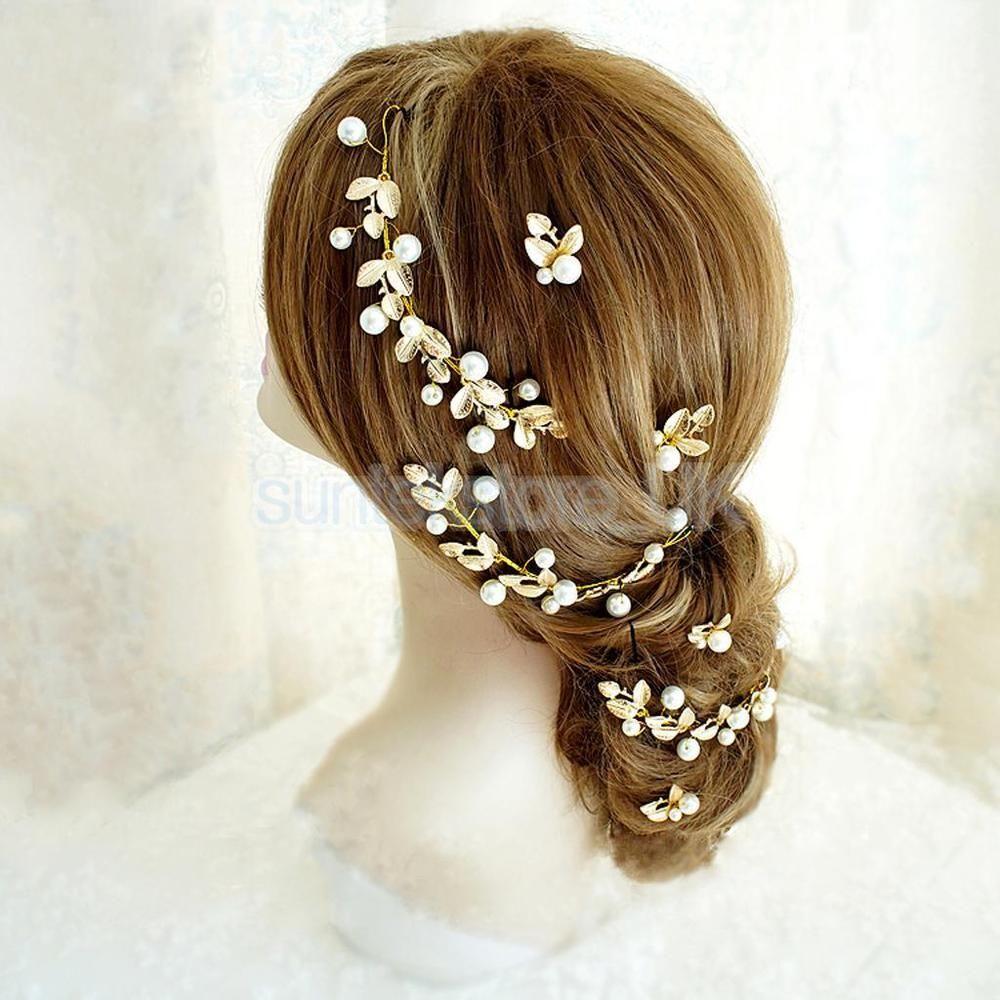 golden leaves hair accessories for bride bridesmaid wedding hair