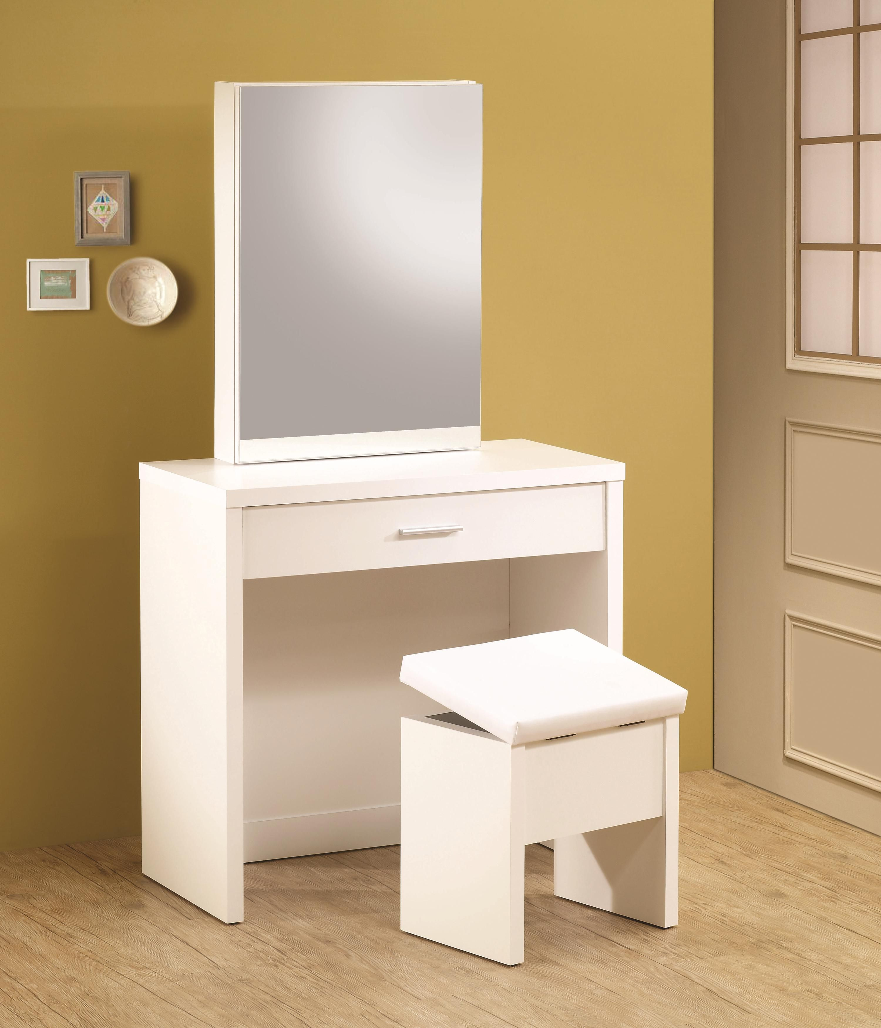 White vanity hidden mirror storage and lift