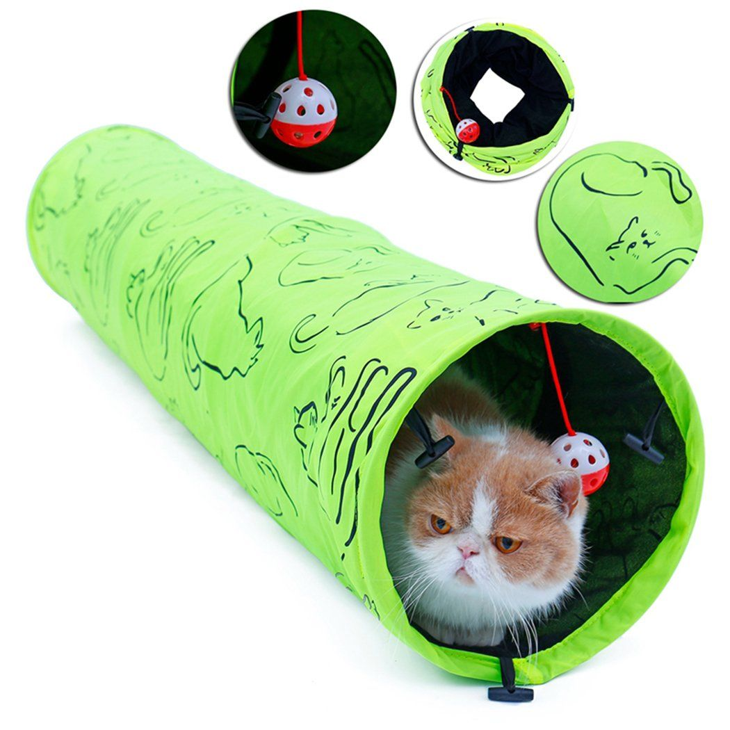 Legendog Pet Tunnel Kitten Tunnel Foldable Breathable Pet Playing Toy Open Tunnel With Hanging Bell To View Further For T Cool Cat Toys Cat Toys Cat Tunnel