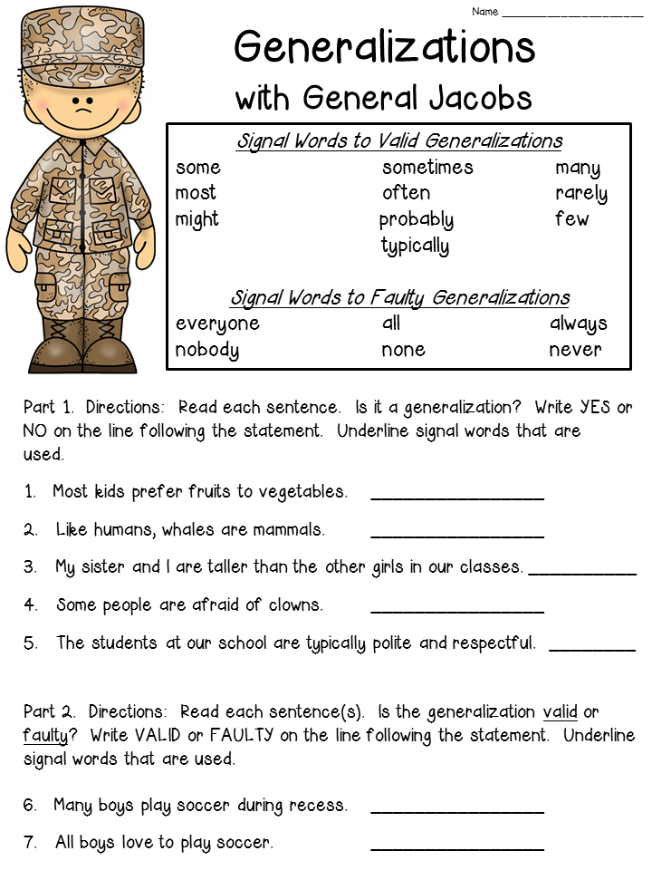 {FREE worksheet for teaching about Generalization statements – Generalization Worksheets