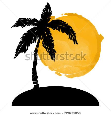 Coconut Palm Tree Black Silhouette And Watercolor Circle Paint