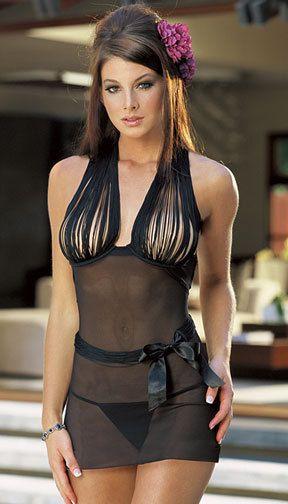 Women Sexy Black Tassels Bra Transparent Lingerie mesh Mini Dress sexy lingerie hot  Underwear Babydoll 6020
