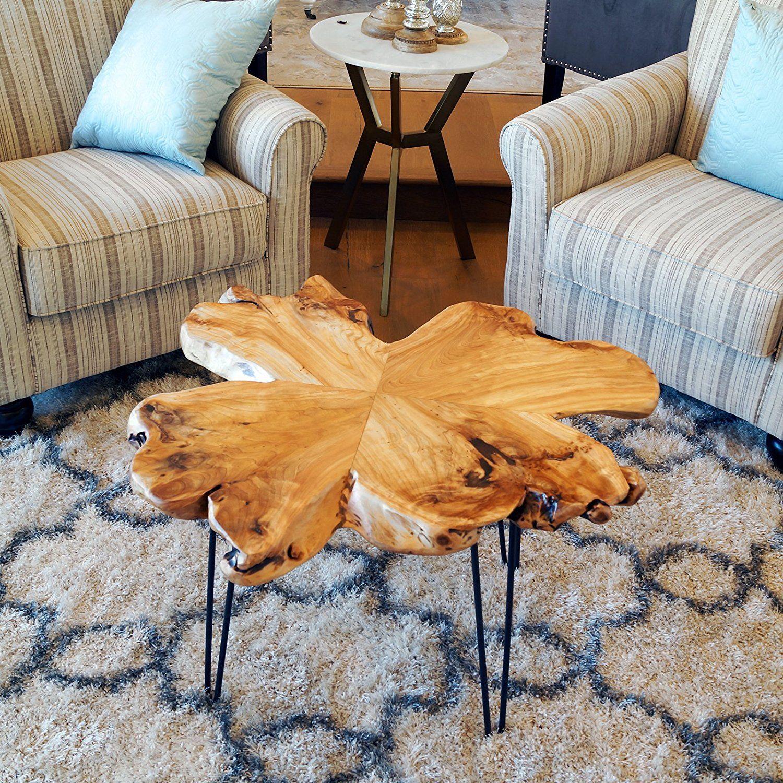 amazon com welland live edge coffee table wood slab coffee table rh pinterest com