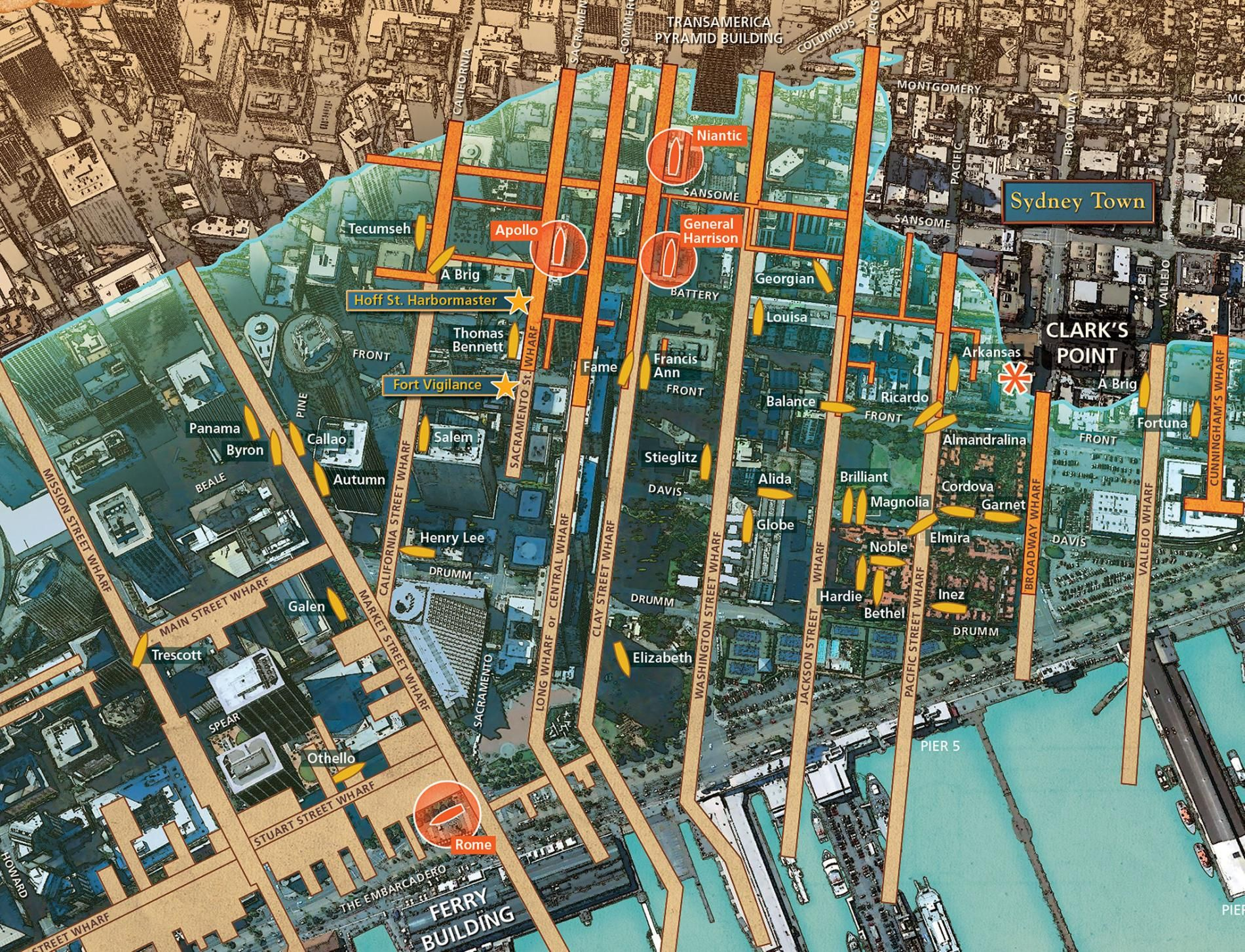 San Francisco Map Attractions Pdf%0A New Map Reveals Ships Buried Below San Francisco  Dozens of vessels that  brought gold